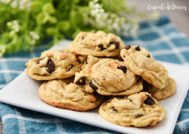 Chewy, chocolatey, and perfect in every way! These chocolate chip cookies are loaded with flavor (thanks to a secret ingredient!) and have the perfect textures.