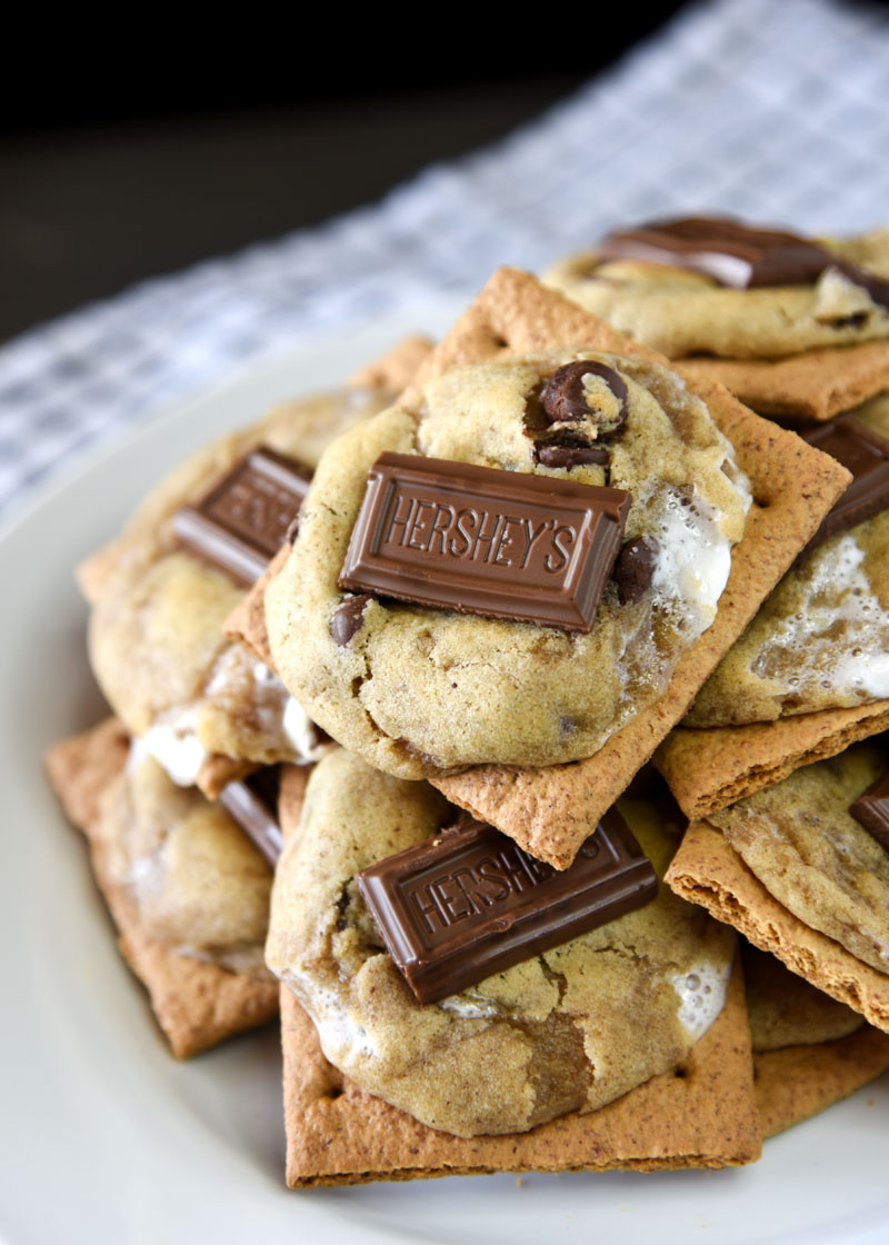 Perfectly chewy and gooey s'more-like cookies on top of crunchy graham crackers!