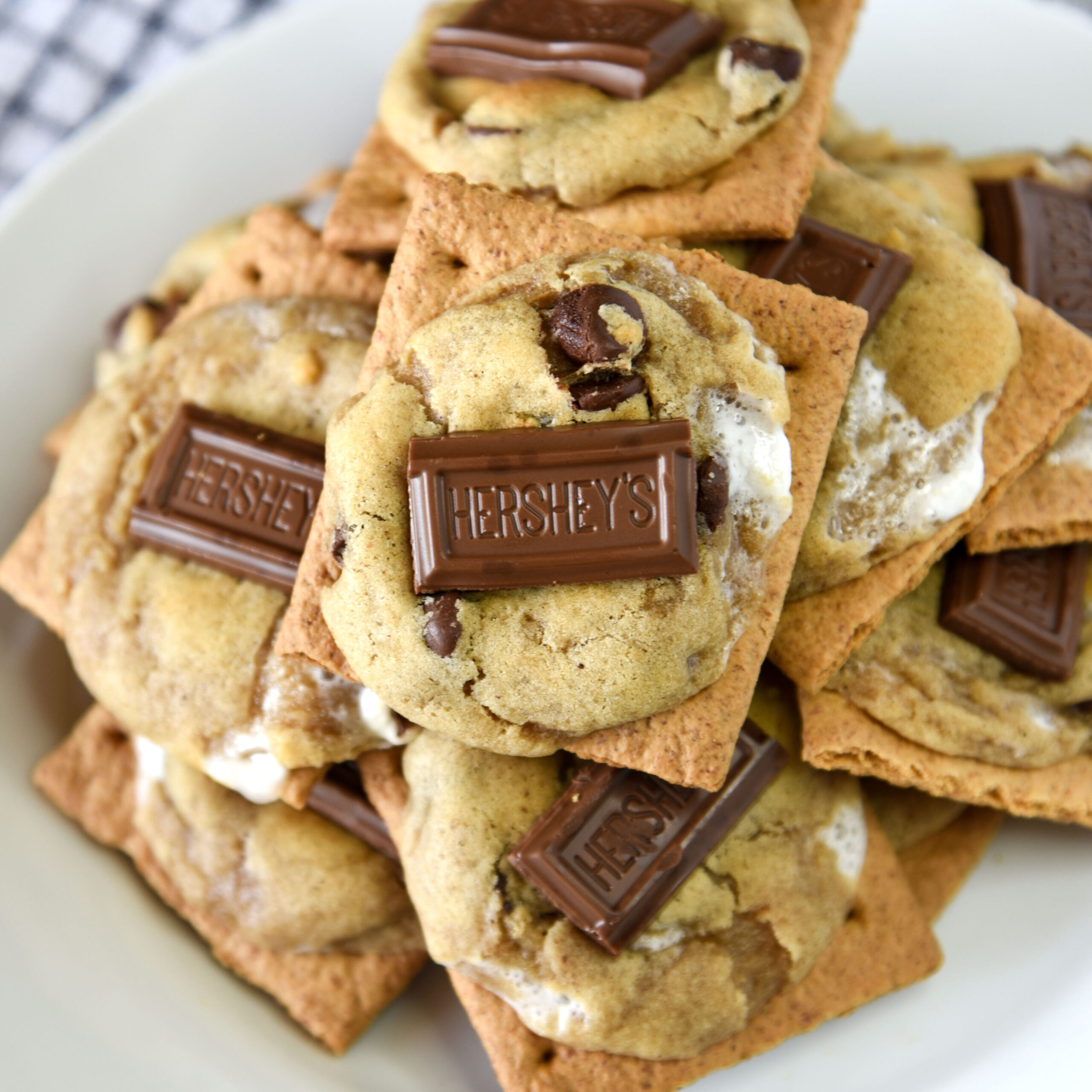 Chocolate chip cookies loaded with s'mores ingredients and baked on a graham cracker!