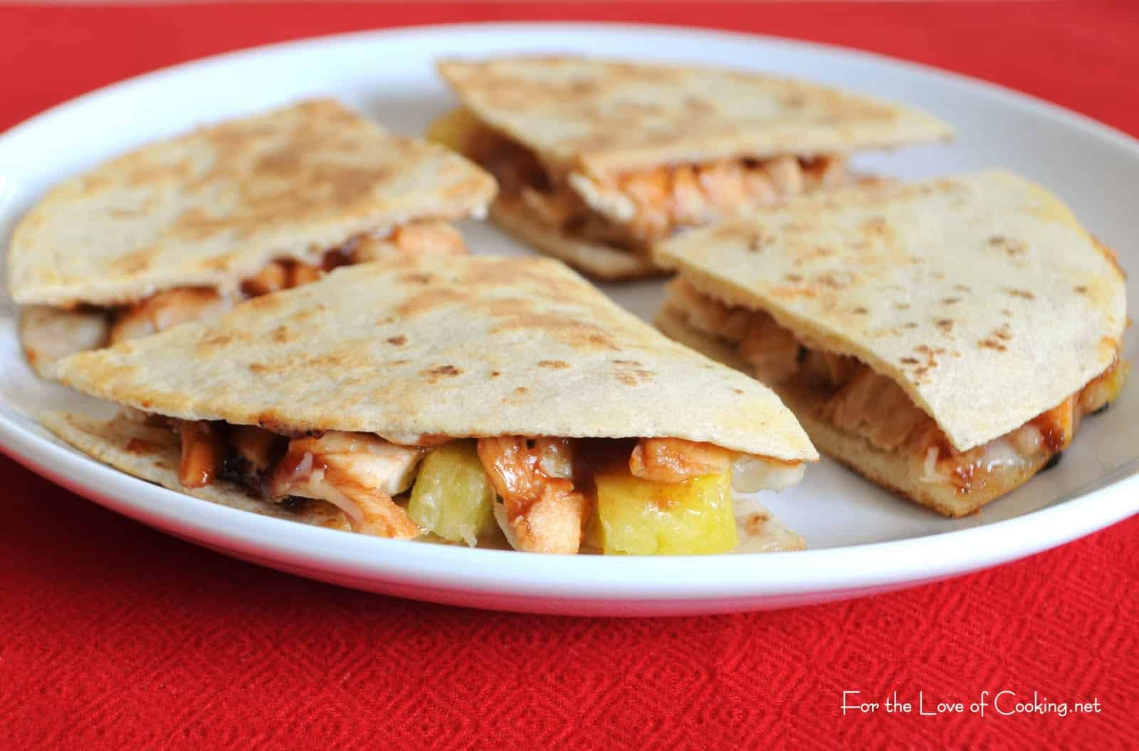 Barbecue Chicken and Pineapple Quesadillas - Cupcake Diaries
