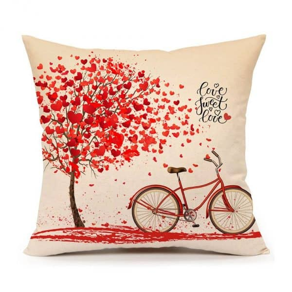 Red Tree and Love Bicycle Pillow Cover