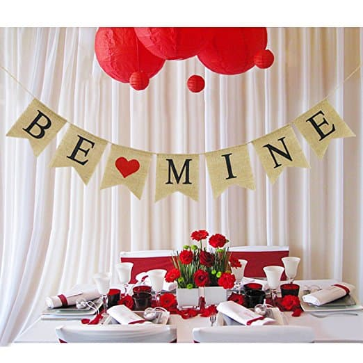 """Be Mine"" Burlap Banner"