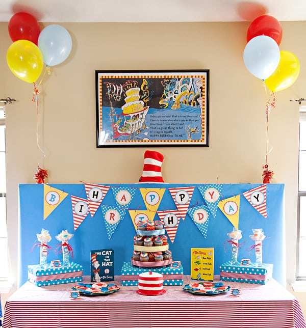 Happy birthday dr seuss let 39 s celebrate cupcake diaries for B day party decoration ideas