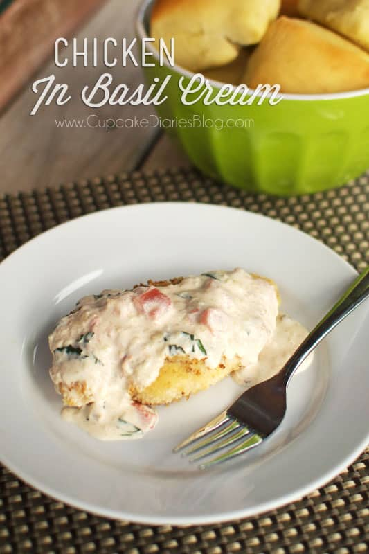 Chicken in Basil Cream - Cupcake Diaries