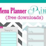 FREE Weekly Menu Planner Printable (4 Colors)