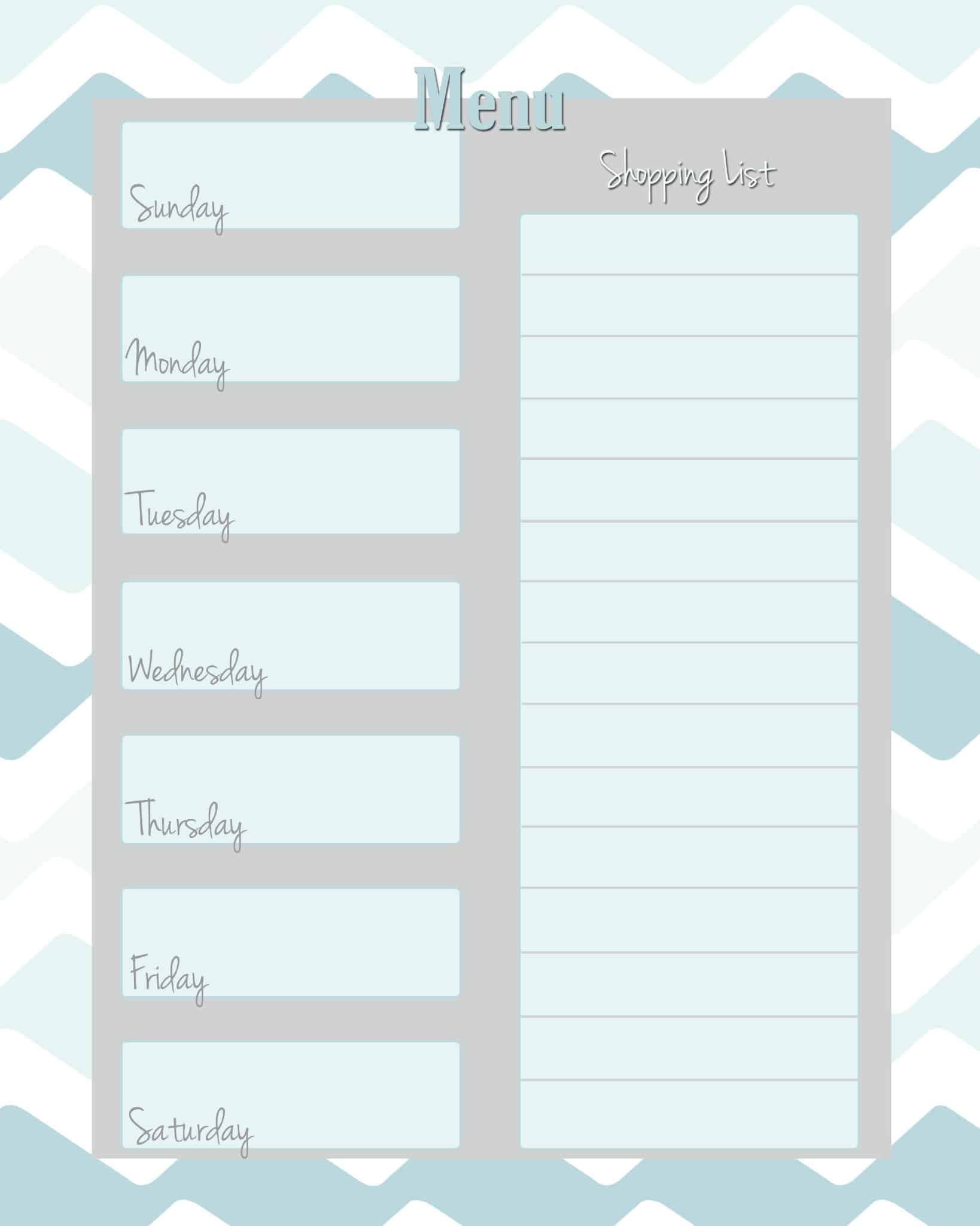 printable weekly menu template .