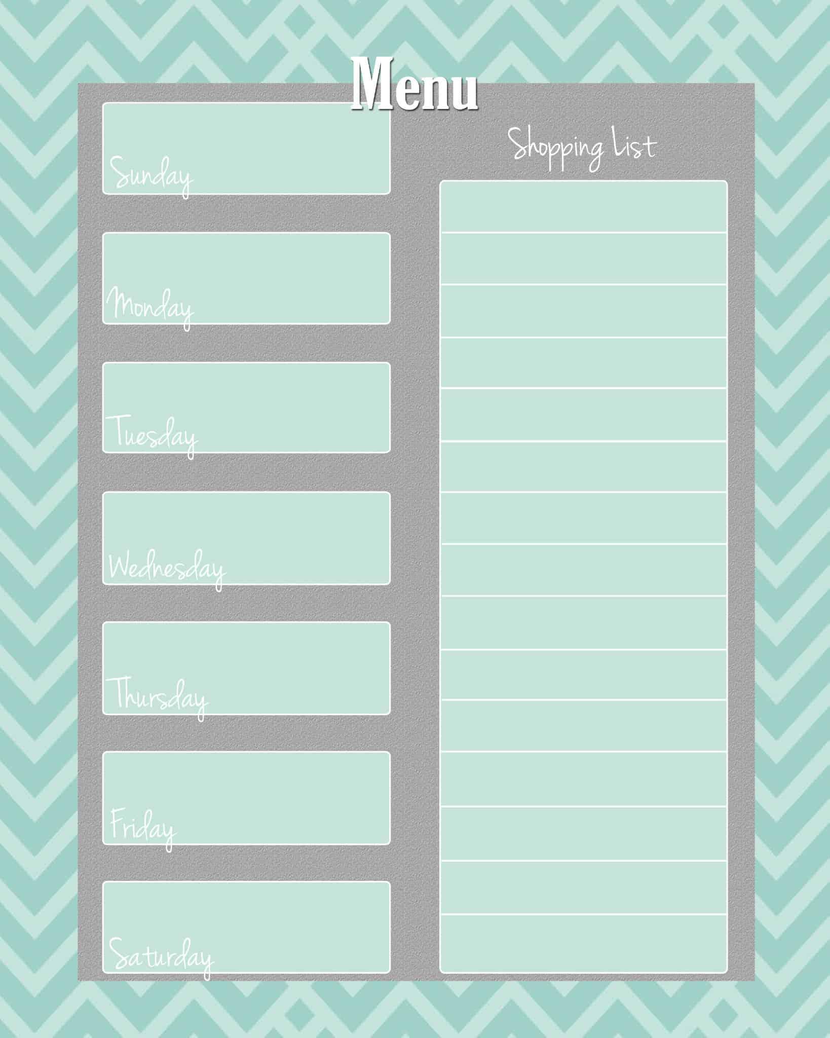 FREE Weekly Menu Planner Printable 4 Colors
