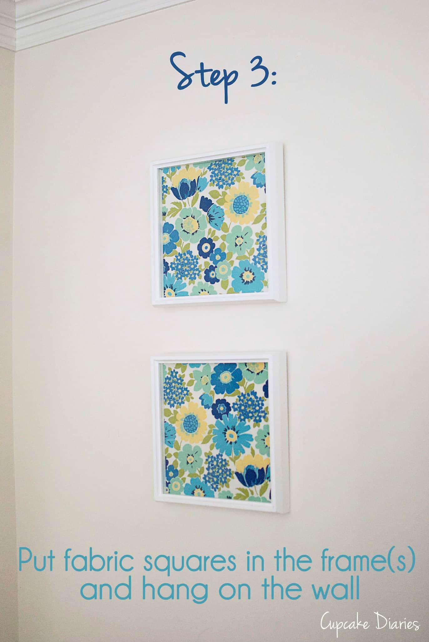 Diy Wall Art Fabric : Diy fabric wall art cupcake diaries
