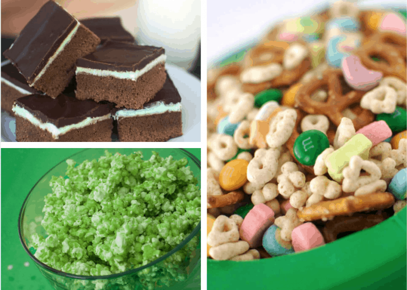 Mint Brownies, Green Candied Popcorn, and Leprechaun Snack Mix are all great treats for St. Patrick's Day!