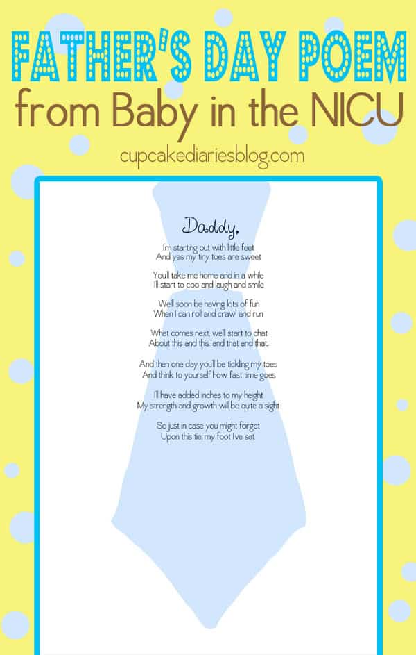 Father S Day Poem Gift From Baby In The Nicu