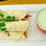 Sweet Pork Taquitos Grande with Copycat Cafe Rio Creamy Tomatillo Dressing