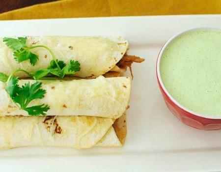 Sweet Pork Taquitos Grande with Copycat Cafe Rio Creamy Tomatillo Dressing