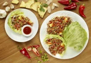 NEW Sriracha Pineapple Pork Lettuce Wraps at Pei Wei