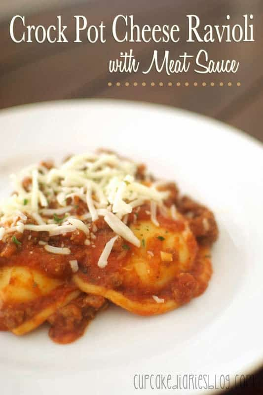 Crock Pot Cheese Ravioli with Meat Sauce