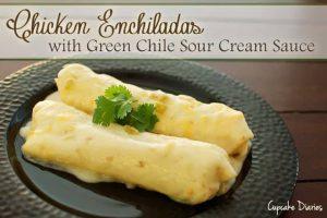 Chicken Enchiladas with Green Chile Sour Cream Sauce