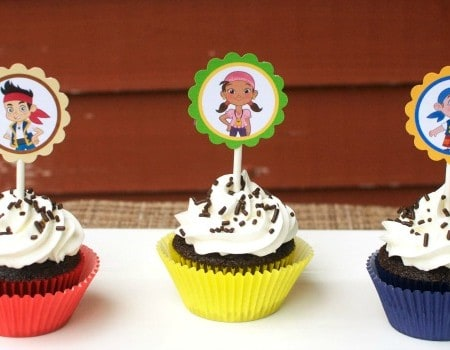 Jake and the Never Land Pirates Cupcakes with FREE Cupcake Toppers