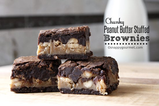 Chunky Peanut Butter Stuffed Brownies