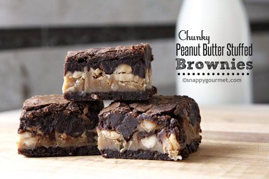 Chunky Peanut Butter Stuffed Brownies