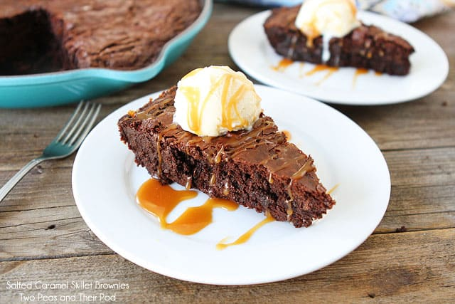 Salted Caramel Skillet Brownies