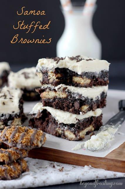 Samoa Stuffed Brownies