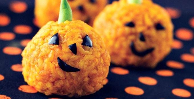Jack-o-Lantern Carrot and Rice Bites {30 Days of Halloween – Day 29}