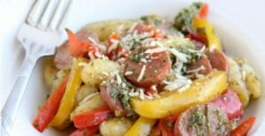 Pesto Gnocchi with Sausage and Peppers