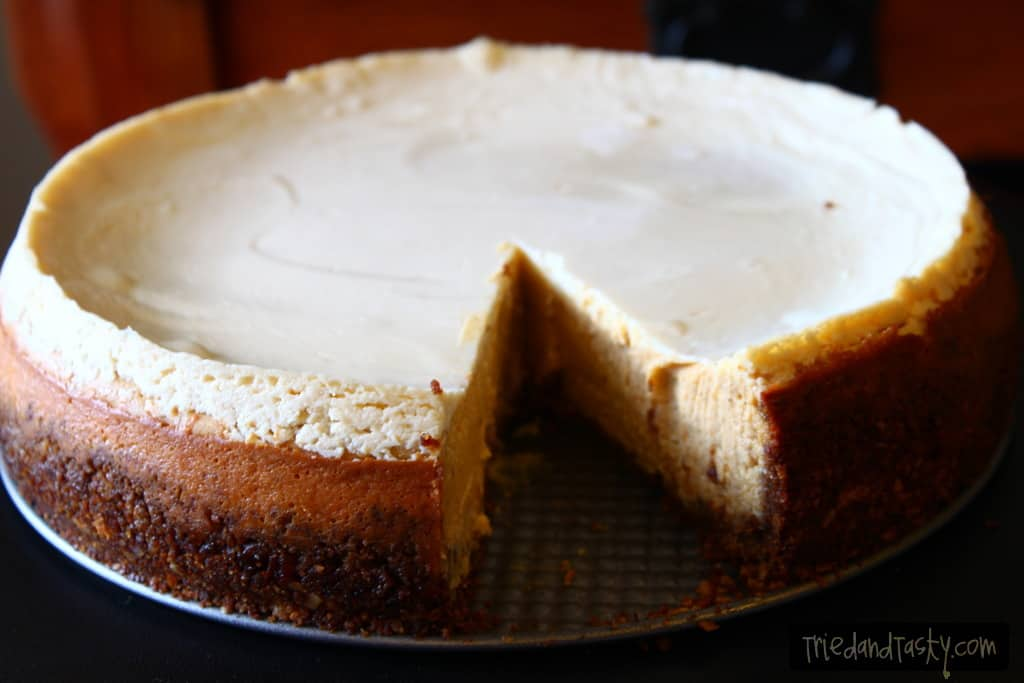 Pumpkin Cheesecake with Gingersnap-Pecan Crust from Tried and Tasty