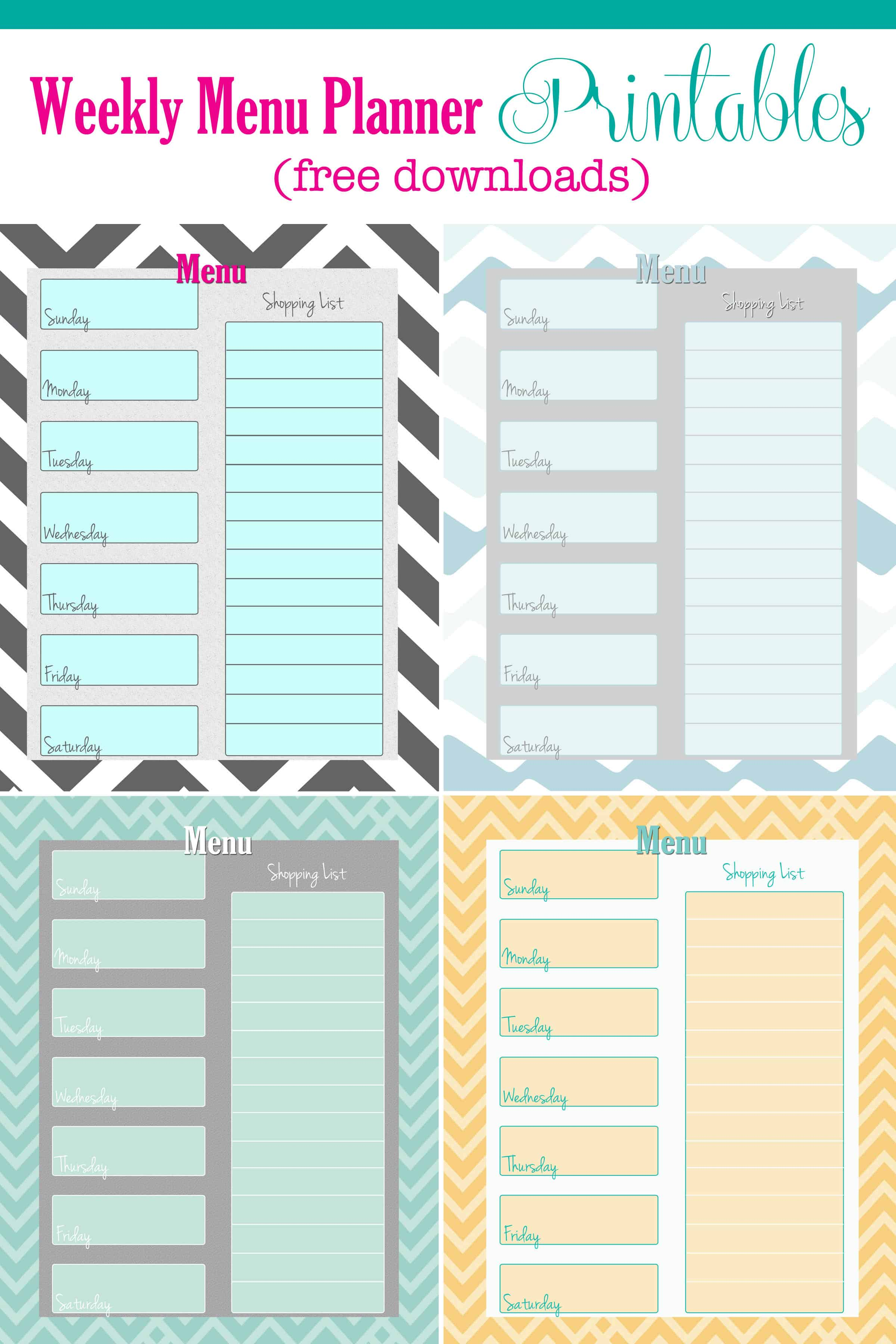 photograph about Weekly Menu Planner Printable identified as Cost-free Weekly Menu Planner Printable (4 Hues) - Cupcake Diaries