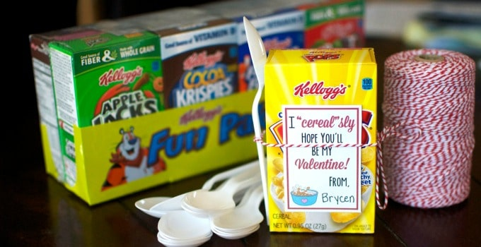 Cereal Valentine with FREE Printable Tags