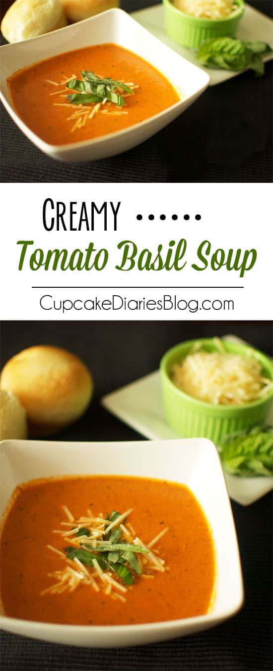 Creamy Tomato Basil Soup - A deliciously creamy tomato soup that is easy to make and so comforting on a cold day!