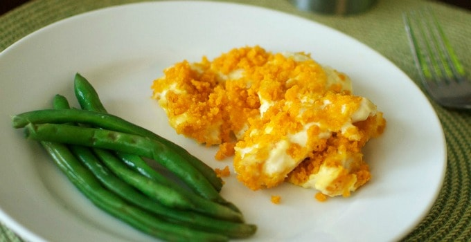 Easy Chicken Casserole with Goldfish Cracker Topping