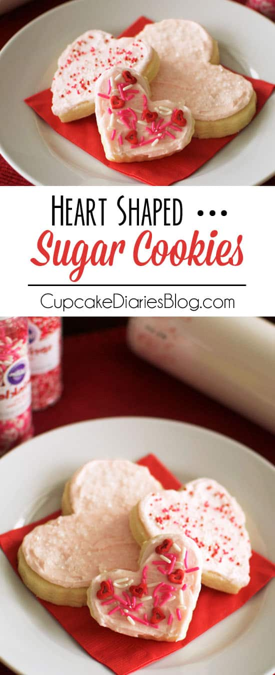 Heart Sugar Cookies - Soft and sweet sugar cookies with a creamy buttercream frosting. These are the perfect sugar cookies!