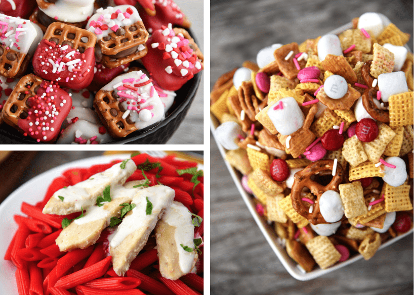 Valentine's Day Caramel Pretzel Bites, Chicken Penne Alfredo for Valentine's Day, Valentine Chex Treat