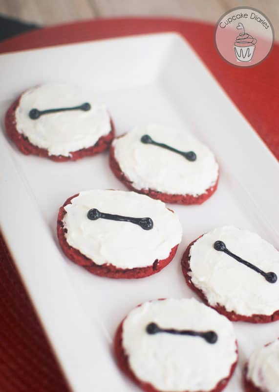 Red Velvet Baymax Cookies - Chewy red velvet cookies with the lovable face of Baymax! So perfect for a #BigHero6MovieNight. @Target #ad