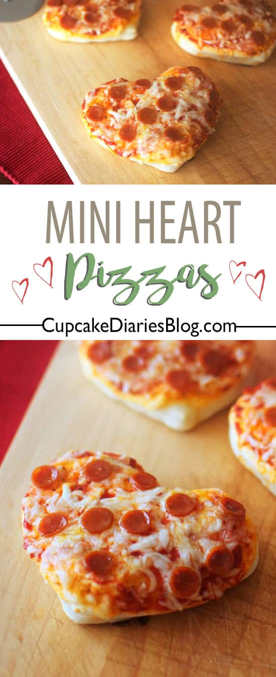 Mini Heart Pizzas - An easy dinner to feed the kids this Valentine's Day!