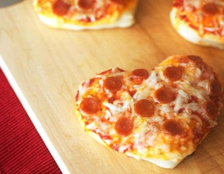 Mini Heart Pizzas for Valentine's Day Dinner