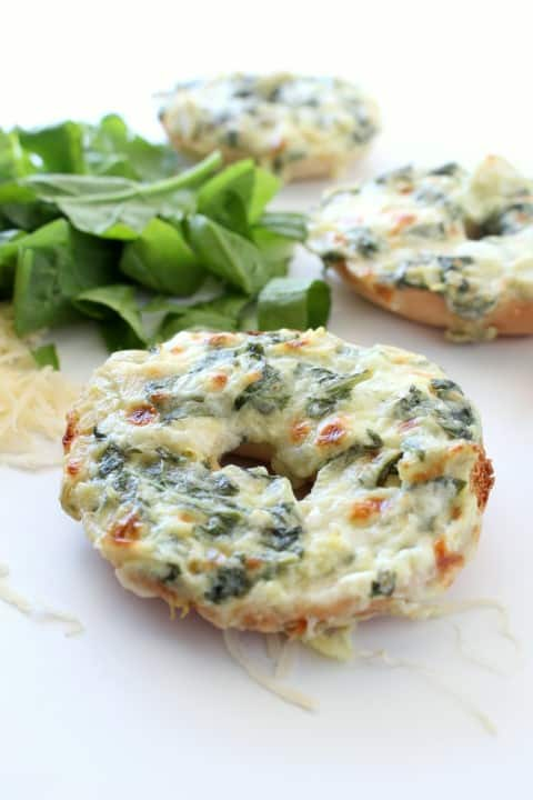 Spinach and Artichoke Bagels