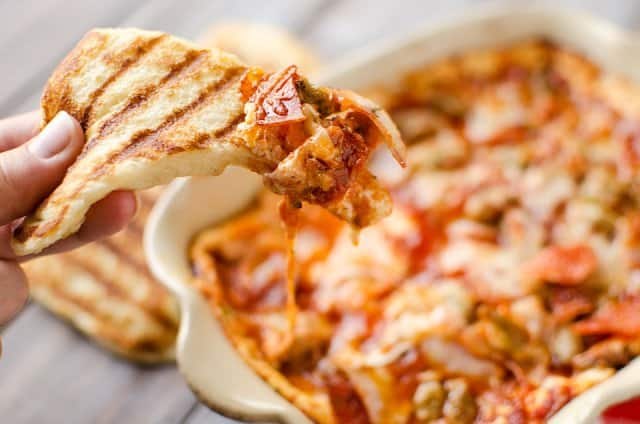 Triple Meat and Cheese Pizza Dip with Grilled Crust Dippers