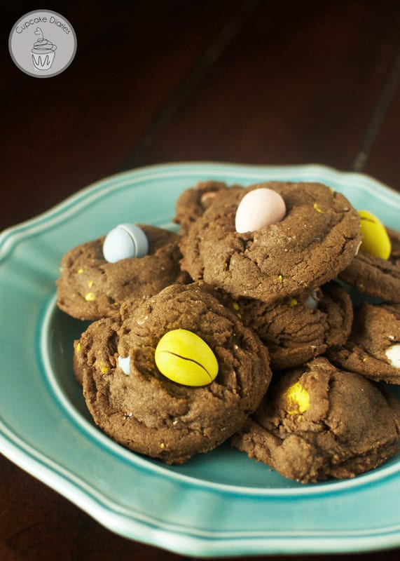 Chocolate Mini Cadbury Egg Cookies - Chewy, chocolatey cookies filled with crunchy mini cadbury egg candies. A perfect treat for springtime and Easter!