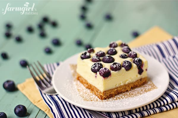 Blueberry White Chocolate Cheesecake Bars
