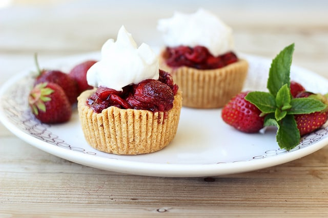 Roasted Balsamic Strawberry Mini-Tarts with Whipped Coconut Cream