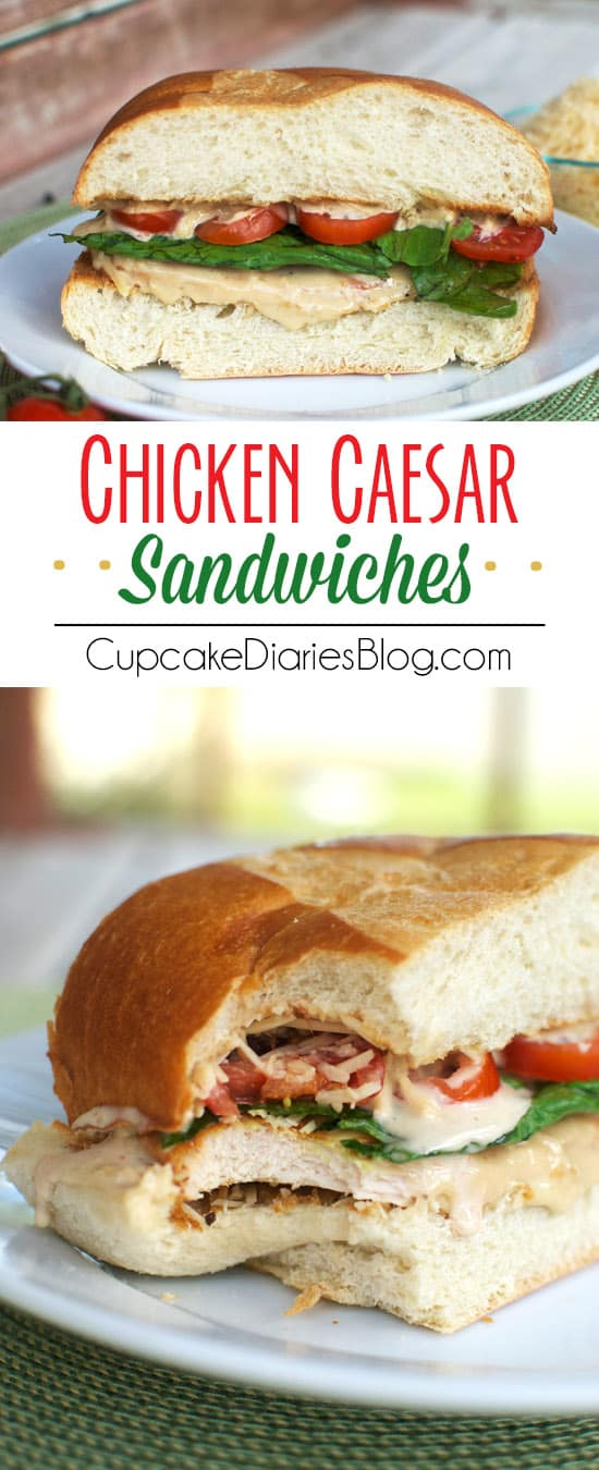 Chicken Caesar Sandwiches - Restaurant quality sandwiches you can make at home! If you love caesar dressing, you're going to love this sandwich.