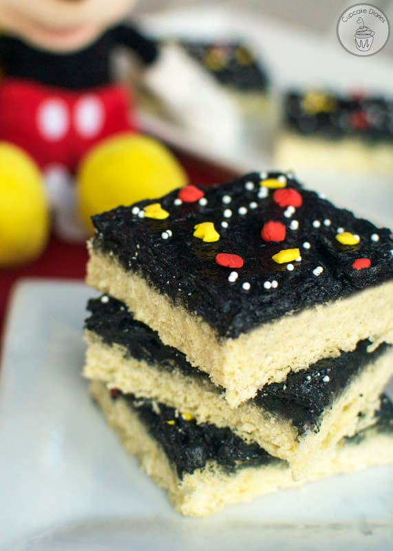 Mickey Mouse Sugar Cookie Bars - A perfect treat to serve at a Mickey Mouse birthday party!
