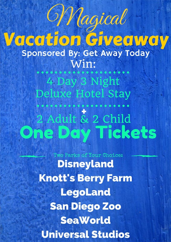 Win a magical vacation getaway for your family! Ends 7/20/2015.