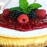 Classic Cream Cheesecake from Mixed Berry Sauce