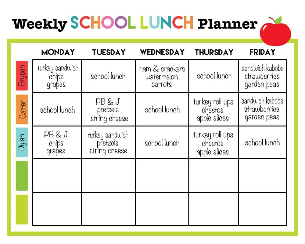 weekly lunch menu template - cupcake diaries top 10 posts of 2015