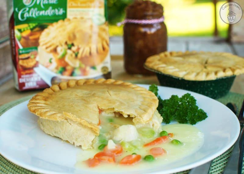 Marie Callender's Chicken Pot Pie with Easy Crock Pot Cinnamon Applesauce