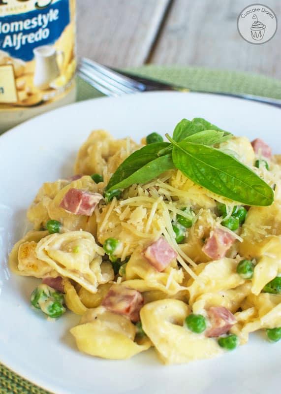 Tortellini Alfredo with Ham and Peas
