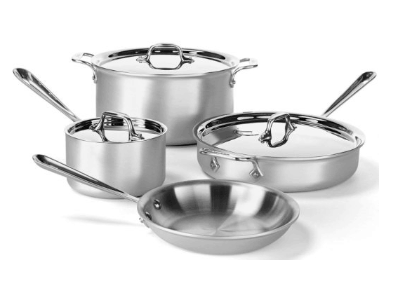 All-Clad Professional Master Chef 2 Stainless Steel Tri-Ply Bonded Cookware Set, 7-Piece
