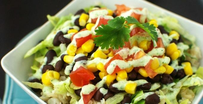 Burrito Bowls with Light Tomatillo Dressing